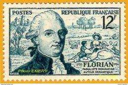 France**LUXE 1955 P 1021 Vf 12 F. Le Fabuliste Jean-Pierre Claris De Florian (6/3/1755-13/9/1794), Bicentenaire De Sa Na - France