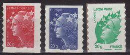 Adhésifs 590 592 604 Timbres De Carnet - Beaujard Rouge 20g - Bleu 20g Europe - Lettre Verte 20g (2011) Neuf** - France