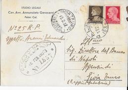 STORIA POSTALE REGNO - ANNULLO FRAZIONARIO PALMI (53-74)+PER GIOIA TAURO 13.02.1937 - 1900-44 Vittorio Emanuele III