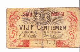 BON De 5c STAD BRUGGE 1915 - [ 3] Occupazioni Tedesche Del Belgio