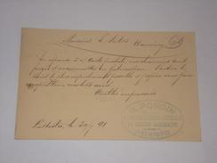Entier M.Poncin Aciers Limes Outils à La Hestre En 1891. - Postcards [1871-09]