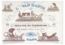 Carte Porcelaine Lithographiée (19e S.) / Porseleinkaart /GENT / L.VAN HAUTE -- SELLIER CARROSSIER - Gent