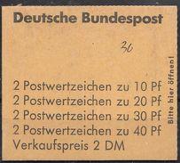 """Bund Nov. 1972 / MiNr.  MH 18 A    Mit  H-Blatt 23  Deckelbeschriftung """"36""""    ** / MNH    (mh1399) - [7] République Fédérale"""