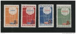 POLAND 1960 BALLOON POST STAMPS SET OF 4 NHM KATOWICE SYRENA POZNAN WARSZAWA BALLOONS FLIGHT TRANSPORT - Poste Aérienne