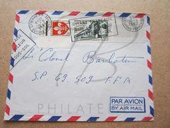 """VEND TIMBRES DE FRANCE N° 1186 + 1335 ,CACHETS """" CAYENNE R.P. - GUYANE FRANCAISE """" , SUR FACADE !!! - 1961-...."""