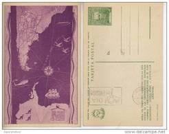 MAPA DEL TERRITORIO ARGENTINO CON LA INDICACION DE LAS COMUNICACIONES  JUSTICIALISMO PERONISMO FDC TARJETA POSTAL OHL - Postal Stationery
