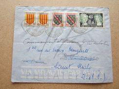 """VEND TIMBRES DE FRANCE N° 1045+1046 EN PAIRES+1061 ,CACHETS TIRETES """" SAINT-LOUIS M.Gte - GUADELOUPE """" , SUR LETTRE !!! - Marcophilie (Lettres)"""
