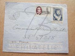 """VEND TIMBRES DE FRANCE N° 1067 + 1095 ,CACHETS TIRETES """" SAINT-LOUIS M.Gte - GUADELOUPE """" , SUR FACADE !!! - Marcophilie (Lettres)"""