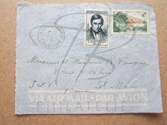 """VEND TIMBRES DE FRANCE N° 1111 + 1125 ,CACHETS TIRETES """" SAINT-LOUIS M.Gte - GUADELOUPE """" , SUR FACADE !!! - Marcophilie (Lettres)"""