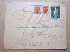 """VEND TIMBRES DE FRANCE N° 1047 EN PAIRE + 1112 ,CACHETS TIRETES """" SAINT-LOUIS M.Gte - GUADELOUPE """" , SUR FACADE !!! - Marcophilie (Lettres)"""