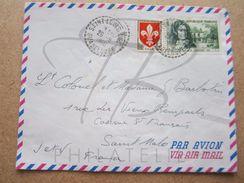 """VEND TIMBRES DE FRANCE N° 1186 + 1259 ,CACHETS TIRETES """" SAINT-LOUIS M.Gte - GUADELOUPE """" , SUR FACADE !!! - 1961-...."""