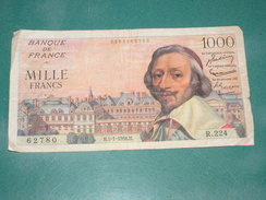 Billet De Banque, Banknote, Bankbiljet, France, Richelieu 1000 Francs 5/01/1956, N° 62780, R224, Bon état - 1871-1952 Anciens Francs Circulés Au XXème