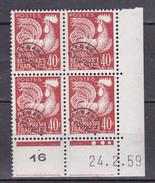 N° 116  Préoblitérés  Type Coq Gaulois: Coins Datés 24.2.59 - Coins Datés