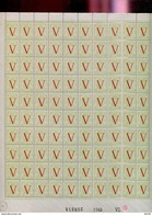 Belgie 1944 670/73 Liberation Heraldieke Leeuw Full Sheet Of 100 OCB++60€ + Luppi(roestvlekjes Zie Scans) - Full Sheets