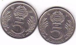 Hungary 2 X 5 Forint 1984, 1985 - Hongrie