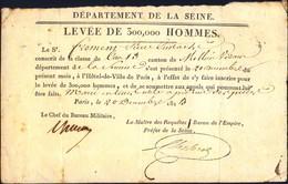 Conscription : Levée De 300 000 Hommes, 1813.Certificat D'inscription - Documents Historiques