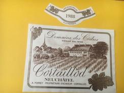 5177 - Domaine Des Cèdres 1988 A.Porret Cortaillod Neuchâtel Suisse - Etiquettes