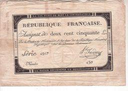 Assignat De Deux Cent Cinquante Louis -  7 Vendémiaire De L'an 2 De La République FrançaiseAssignat - Assignats & Mandats Territoriaux