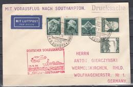 Dt.Reich Deutsch-Amerikanische Seepost/Bremen-New York 11.9.35 Und Deutscher Schleuderflug D.Europa-Southampton - Deutschland