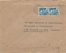 LETTRE 1948 POUR L'ALGERIE AVEC 2 TIMBRES AU TYPE MARIANNE DE GANDON - Marcophilie (Lettres)