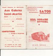 FINISTERE, France - Chemins De Fer Et Autobus Départementaux - Horaire Officiel Satos 1933 - Europe
