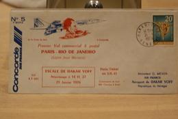 ENVELOPPE PREMIER VOL EN CONCORDE PARIS RIO DE JANEIRO ESCALE DAKAR YOFF 21 JANVIER 1976 - Senegal (1960-...)