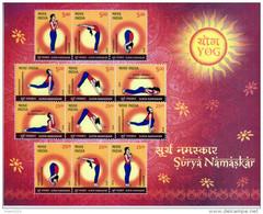 INDIA- 2016 - International Yoga Day- SURYA NAMASKAR- Yoga Postures- Miniature Sheet Of Full Set- MNH - India