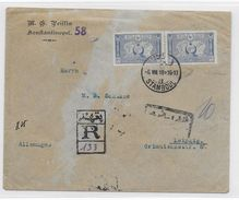 TURQUIE - 1918 - ENVELOPPE RECOMMANDEE Avec CENSURE (VOIR DOS) De STAMBOUL => LEIPZIG (GERMANY) - 1858-1921 Empire Ottoman