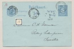 Nederlands Indië - 1891 - 5 Cent Briefkaart Met KR MEESTER CORNELIS, PADANG, WELTEVREDEN Naar KR PADANG SIDEMPOEAN - Nederlands-Indië