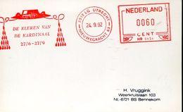 25270  Nederland  Red Meter/freistempel/ema/ 1992 Utrecht, De Kardinal - Christianity