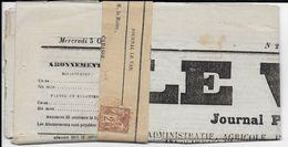 """1877 - SAGE 2c SEUL SUR JOURNAL """"LE VAR"""" De TOULON PP JOURNAUX => CABASSE - RAYON LOCAL - Marcophilie (Lettres)"""