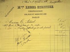 Facture De Maison LEBEL STRITTER - CHAPELLERIE à Paris à Mr Charles AURIOL - Datée Mars 1889 - France