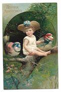 CPA GAUFREE - HEUREUX ANNIVERSAIRE -  Petite Fille Avec Oiseaux - Birthday