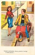 Themes Div -ref U265- Illustrateurs - Illustrateur -humour - Transports - Scooters - Scooter  -carte Bon Etat - - Cartes Postales