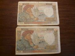 Lot1 - WW2 Guerre 39-45 - 2 X Billet De 50 Francs Du 13/06/1940 - Jacques Coeur - France