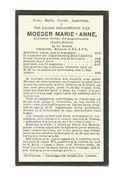 Z 167. MOEDER MARIE-ANNE  (GELADE) -Algemene Overste AUGUSTINESSEN -° ALKEN 1868 /  + ST-TRUIDEN (Zwart-Zusters) 1930 - Images Religieuses