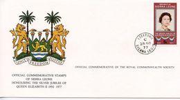 SIERRE LEONE - HONOURING SILVER JUBILEE OF QE11 1977  FDC121 - Sierra Leone (1961-...)