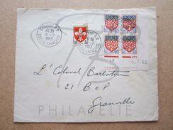 """VEND TIMBRES DE FRANCE N° 1186+1352 EN BLOC DE 4 COIN DATE , CACHET """" CAYENNE R.P. - GUYANE FRANCAISE """" , SUR FACADE !!! - 1961-...."""