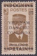 North Vietnam 1L 6a 1945 Petain 3c Olive Brown Per 11x14 MNG - Vietnam