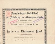 1929 - 1938 : Société D'Assainissement De La Ville De Mulhouse (Mülhausen), Actie Von Eintausend Mrk,  4 Scans - Non Classificati