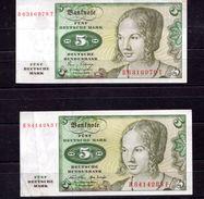 9251 Deutschland Germany 2x 5 Deutsche Mark Gebraucht, Ro 285 U. 269 A - [ 7] 1949-… : RFA - Rep. Fed. De Alemania