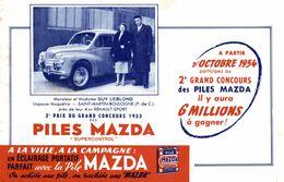 BUVARD PILE MAZDA LES GAGNANTS DU CONCOURS DE 1953 - Accumulators