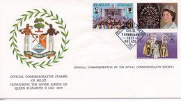BELIZE - HONOURING SILVER JUBILEE OF QE11 1977  FDC140 - Belize (1973-...)