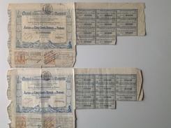 Action De 500 Francs France - Lot De 2 Actions - Canal Interoceanique De Panama - Double Timbre Fiscal Sept 1886 - Navigation