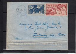 """A.O.F. Enveloppe + Lettre De  DAKAR  Senegal 1949 Pour  FONTENAYaux ROSES Seine Avec  """"  POSTE AERIENNE 8F """" - Lettres & Documents"""