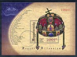 HUNGARY 2001 St. Stephen's Crown Block With Specimen / Muster Cancellation MNH / **.  Michel Block 264 - Blocks & Kleinbögen