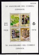 Andorra, Sp., 1978, 111/14 Block 1, 50 Jahre Spanisches Postamt.  MNH **, - Unused Stamps