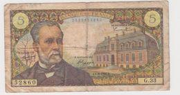 FRANCE 5 Francs Pasteur 1/9/1966 61/3 G.33 VG - 1962-1997 ''Francs''