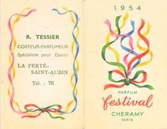 CALENDRIER PARFUM FESTIVAL CHERAMY PARIS 1954 R. TESSIER LA FERTE SAINT AUBIN - Calendriers