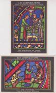 """JUDAICA . Lot 2 Cpsm 9x14 . Vitraux Cath. Chartres """"Les Corporations"""": LES CHANGEURS & LES MARCHANDS DE TISSUS - Judaisme"""